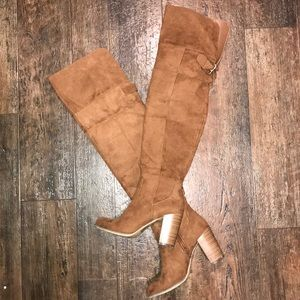 Over the knee suede camel boots